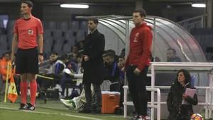 Gerard López, durante el Barça B - Sporting de este viernes