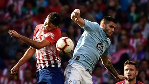 Maxi Gómez, en el partido jugado este sábado ante el Atlético de Madrid