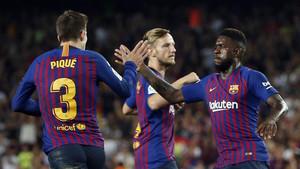 Piqué celebrando su gol frente al Girona