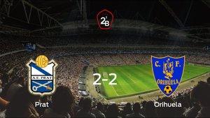 El Prat y el Orihuela CF suman un punto tras empatar a dos