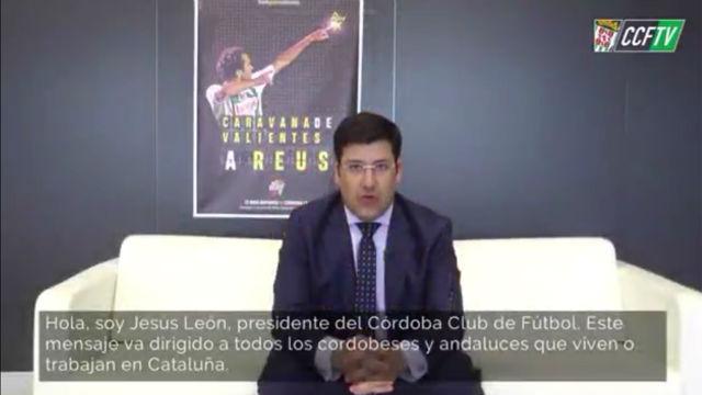 El presidente del Córdoba manda un mensaje a los andaluces que viven en Catalunya