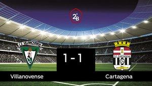 El Villanovense y el Cartagena sólo sumaron un punto (1-1)