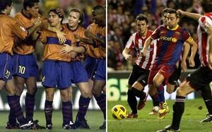 Xavi Hernández en el partido de su debut con el primer equipo (izquierda) y en el que llegó a los 700 partidos oficiales contra el Barça