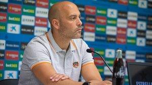 Gabri, durante la rueda prensa previa al partido con el Espanyol B