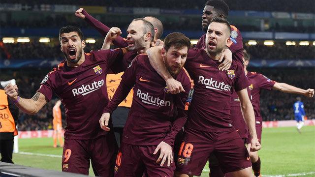 LACHAMPIONS | Chelsea - FC Barcelona (1-1): La celebración del Barça tras el gol de Messi