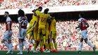 Los jugadores del Palace celebrando uno de los goles