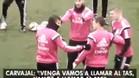 Los jugadores del Madrid bromearon