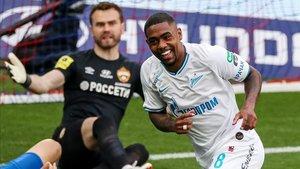 Malcom, autor de dos goles ante el CSKA
