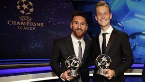 Messi y De Jong, en la gala de la UEFA