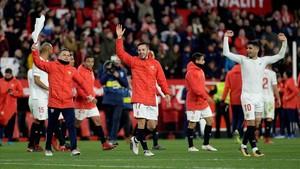 El Pizjuán celebró por todo lo alto el pase a la final de Copa del 21 de abril