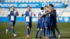 El Sabadell celebra uno de los goles ante el Las Palmas