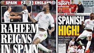 Sterling destacó en las portadas de la prensa inglesa