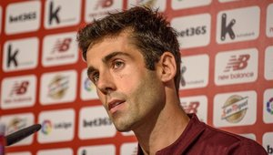 Susaeta durante la rueda de prensa de despedida del Athletic