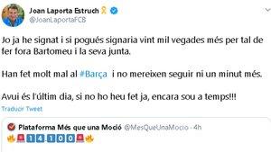 El tuit de Joan Laporta a favor de la moción de censura contra Josep Maria Bartomeu
