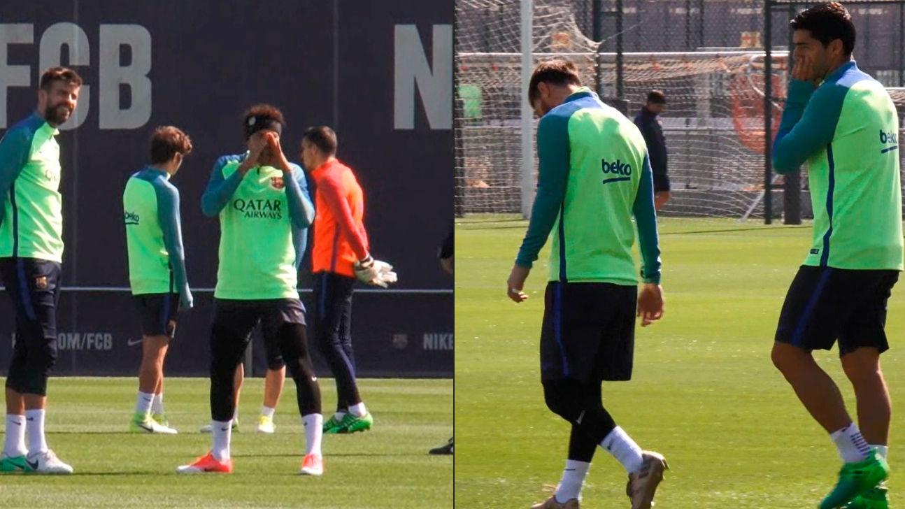 El vacile de Neymar a Messi y Suárez por salir más tarde a entrenar