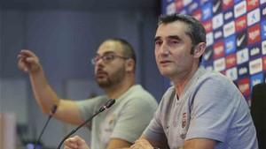 Valverde, durante la rueda de prensa en la Ciutat Esportiva