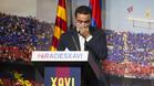 Xavi Hernández en un momento de su discurso de despedida del FC Barcelona