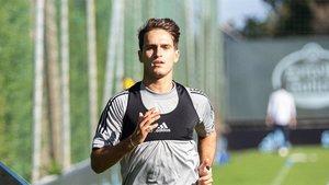 Denis Duárez, durante un entrenamiento del Celta de Vigo