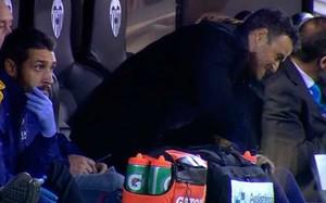 El enfado de Luis Enrique tras la ocasión de Villalba. Después vino el gol del Valencia