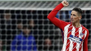Fernando Torres celebrando un gol con el Atlético de Madrid