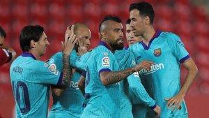 Gesto cariñoso de Leo Messi en la celebración del gol de Martin Braithwaite