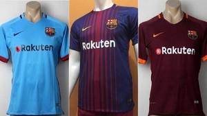 b45eb450cf920 Fotografías reales de las tres equipaciones del Barça 2017 18