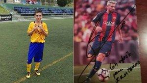 A la izquierda, Iker Merino cuando jugaba en el Barça; a la derecha, la dedicatoria de Messi