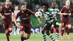 Jordi Alba, en el partido ante el Sporting de Portugal