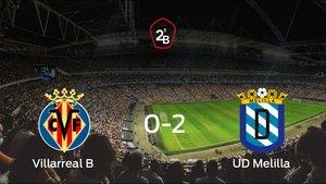 El Melilla gana lejos de su estadio el primer partido de los cuartos de final de los playoff y consigue una importante ventaja ante el Villarreal B (0-2)