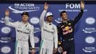 Rosberg, ricciardo y Hamilton