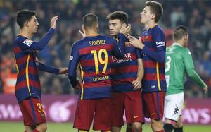 Sandro y Munir anotaron cinco de los seis goles del FC Barcelona ante el CF Villanovense
