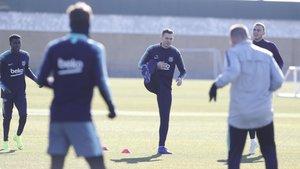Thomas Vermaelen durante el entrenamiento del FC Barcelona de este viernes