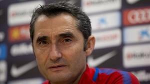 Valverde, en la sala de prensa de la Ciudad Deportiva