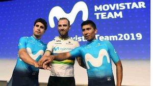 Alejandro Valverde, en la presentación del equipo Movistar
