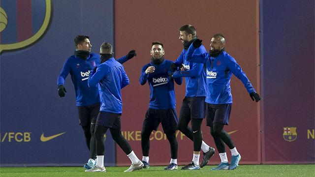 Así ha entrenado el Barça por última vez antes de medirse al Espanyol