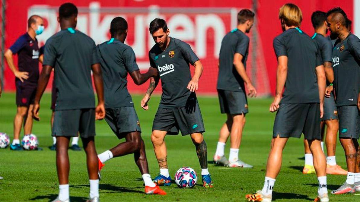 Así fue el último entrenamiento del Barça antes de enfrentarse al Nápoles