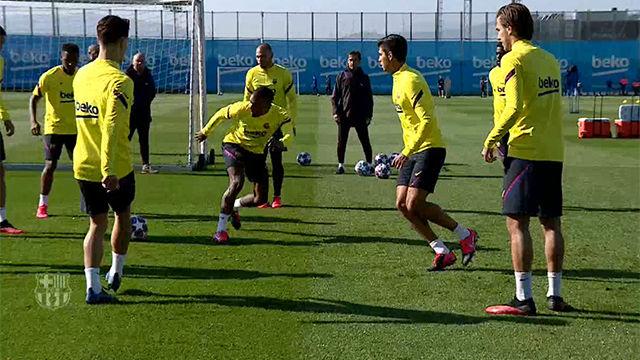 El Barça se ejercita con la mente puesta en el Nápoles