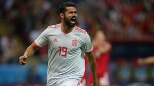 Diego Costa celebró el gol que abrió el marcador ante Irán