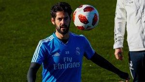 Isco Alarcón, durante un entrenamiento del Real Madrid