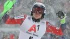 Kristoffersen celebra la victoria en Kitzbühel