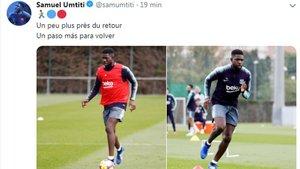 El mensaje de Samuel Umtiti en Twitter