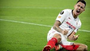 Ocampos celebra el gol de la victoria