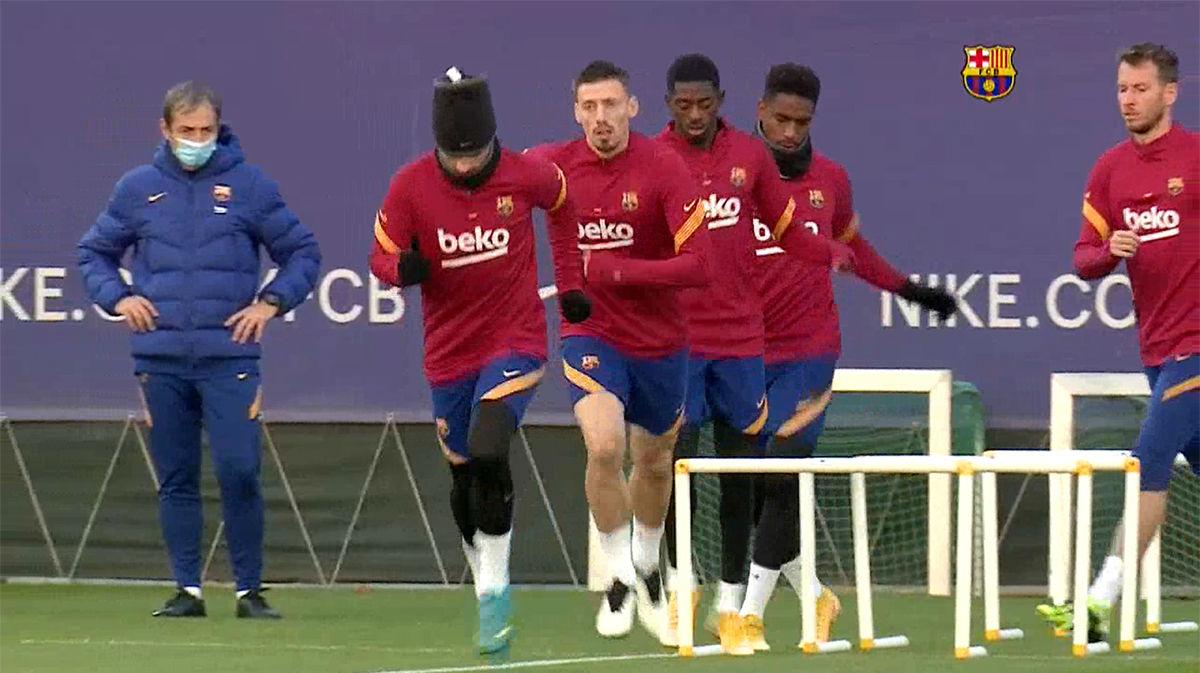 El Barcelona se entrena tras su pleno en Champions, hasta el momento