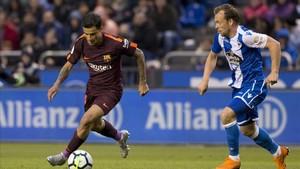 Coutinho abrió el marcados en el triunfo que dio la Liga en Riazor