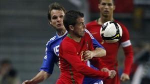 Duda durante un partido con la selección portuguesa