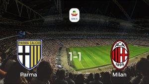 Empate a 1 entre el Parma y el Milan