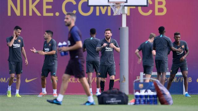 Messi se entrena con el grupo en la previa del Dortmund