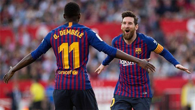 Messi guía al Barça en Sevilla con un partido de época