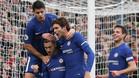 Morata, Hazard, Marcos ALonso y Azpilicueta celebran un gol del Chelsea
