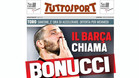 La portada de 'Tuttosport' adelantando el interés del Barça por Bonucci